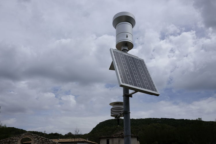 Weather station with solar panel Alternative Energy Cloud - Sky Day Electricity  Environmental Conservation Fuel And Power Generation Low Angle View Nature Outdoors Renewable Energy Sky Solar Energy Solar Equipment Solar Panel Station Technology Wheather