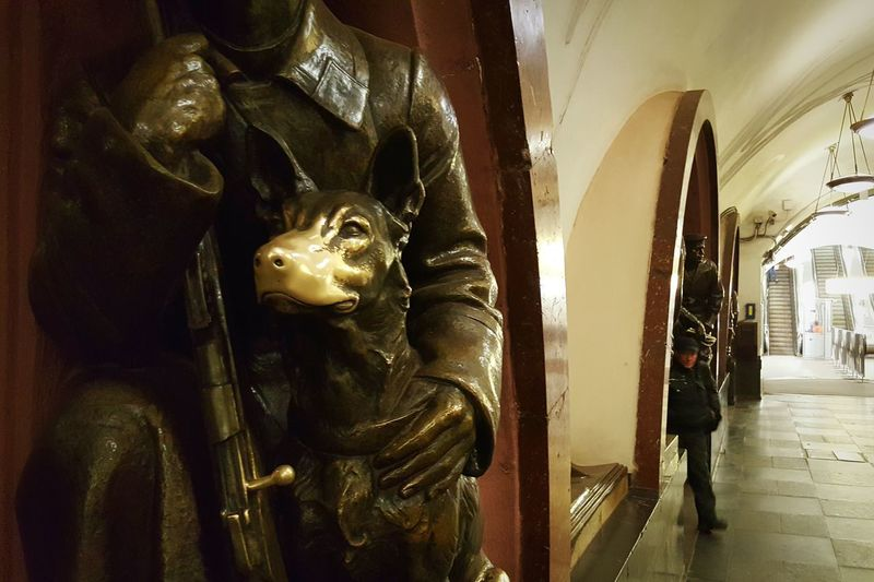 Indoors  Traveling Russia Moscow Metro Station Metro Communist Architecture Communist Era Arches Travel Transportation Built Structure Architecture Statue Indoors  Dog Statue Of The Dog Good Luck Touched