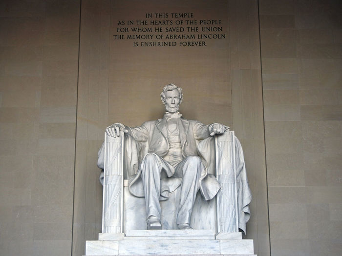 Abraham Lincoln at the Lincoln Memorial in Washington, DC. Presidents American History Abraham Lincoln Statue Lincoln Memorial, Washington DC Patriotism Day Human Representation Indoors  Male Likeness Memorial No People Sculpture Statue