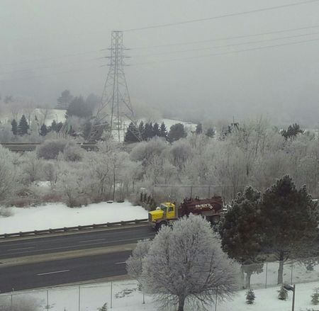 Gray day in winter. Ice fog. Nofilter