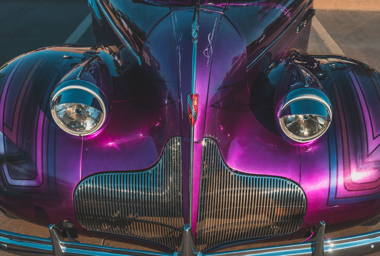 Car Classic Classic Car Close-up Day Illuminated Land Vehicle Mode Of Transport Multi Colored No People Outdoors Pink Color Transportation