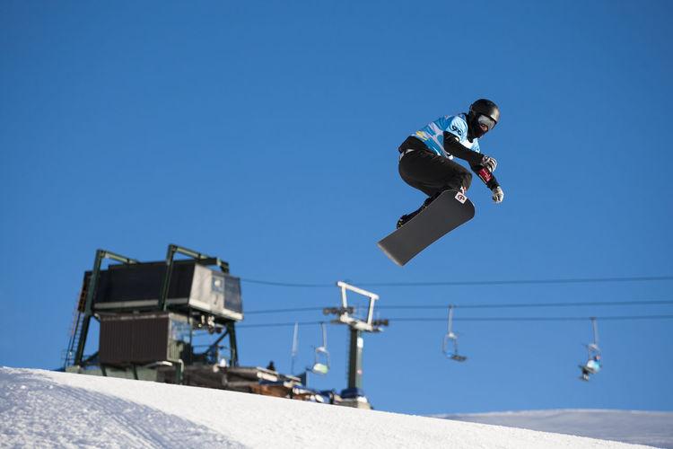 Man Snowboarding Against Sky