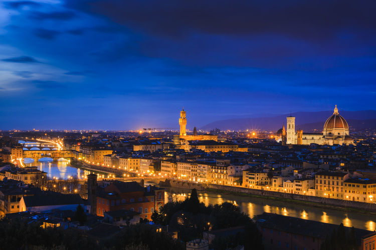 Beautiful Florence, Tuscany, after sunset. Florence Architecture Building Exterior Built Structure City Sky Cityscape Dusk Place Of Worship Night No People Building Illuminated Travel Destinations Florence Italy Firenze Tuscany Outdoors Cloud - Sky