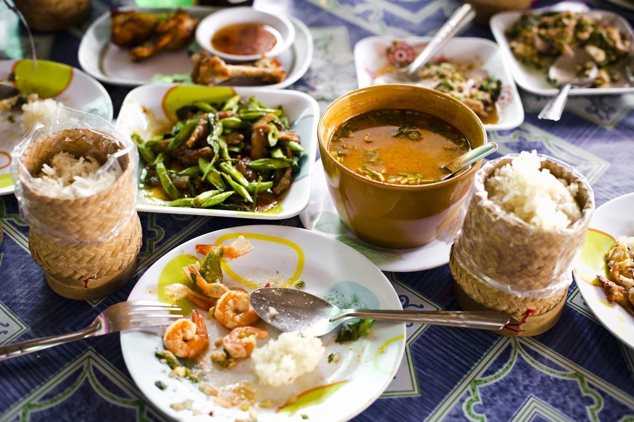High angle view of thai food served on table