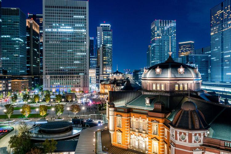 Beautiful night scene of tokyo station, the capital of japan