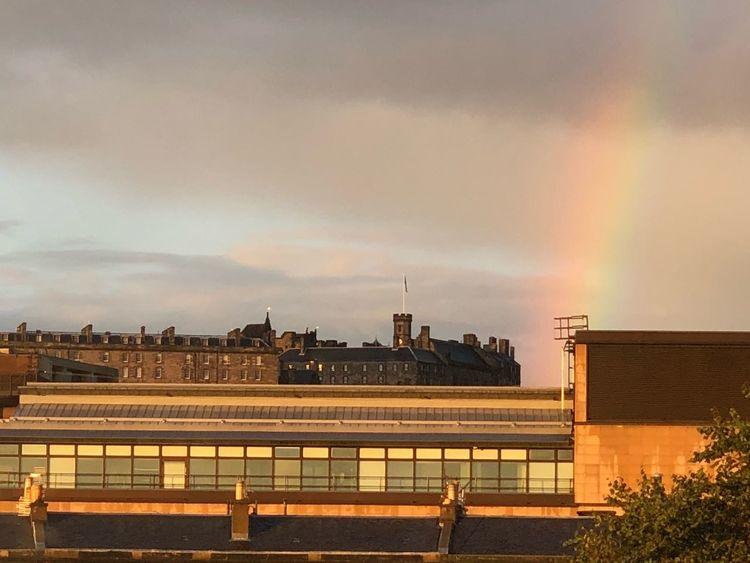 Rainbow Castle Edinburgh Scotland Architecture Built Structure Building Exterior Sky Cloud - Sky Nature Water City Sunset