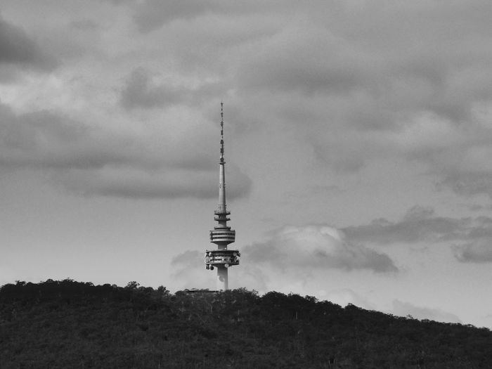 Black & White Black Mountain NSW Australia Architecture Around The World Australia & Travel Beauty In Nature Built Structure Canberra City Capital Cities  Cloud - Sky Clouds And Sky Communication Day Low Angle View Monochrome Mountain Nature No People Outdoors Sky Travel Destinations
