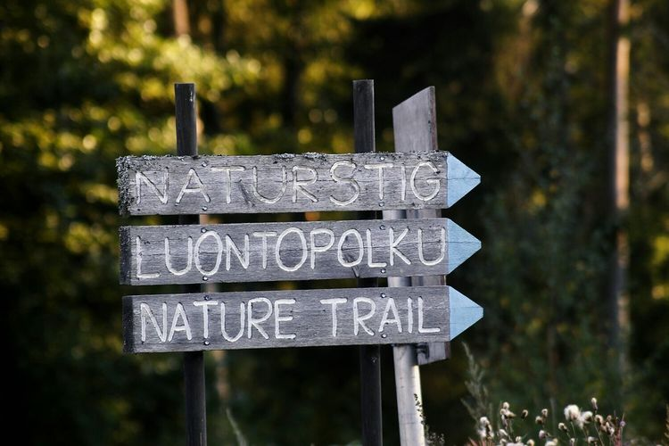 Close-up of information sign