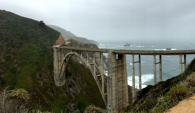 Arch Bridge Architecture Bixby Bridge Engineering Famous Landmark Rugged Coastline, Cloudy, Pacific Ocean,