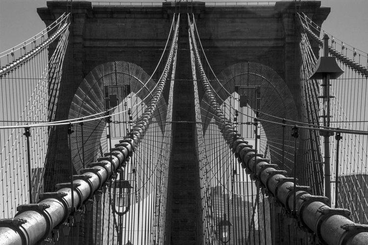 Lines and Curves at the Brooklyn Bridge, nice Architecture...NY Thats the place in NY that I really like going to when I visit the city, it does gives me always great memories of this great city... Architecture Blackandwhite Bridge Brooklyn Brooklyn Bridge  Brooklyn Bridge / New York Engineering Famous Place Geometric Shapes Getting Creative International Landmark Photographic Memory Pattern Pieces The Architect - 2016 EyeEm Awards