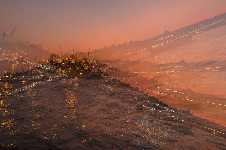 multiple exposure of the Golden Horn and the Suleymaniye mosque at sunset City Golden Horn Istanbul Multiple Exposure Travel Turkey Abstract Color, Suleymaniye Destination Mosque Nature Outdoors Scenics Sky Sunset Tilted Water