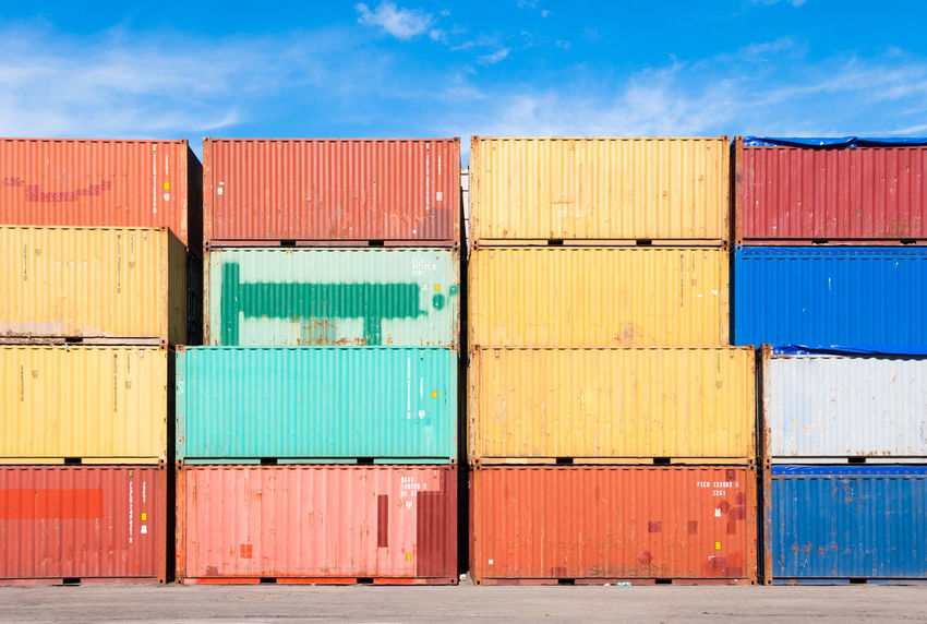 Stacked colored containers Cargo Cargo Container Colored Container Containers Day Export Freight Freight Transportation Harbor Harbour Import Industry Outdoors Port Shipping  Shipping  Sky Sunny Fresh On Market 2016