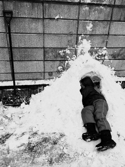 家の塀にかまくら 志 雪 念願 一人かまくら 最強寒波 子供は風の子 寒さより雪 Winter Snow Cold Temperature Weather Warm Clothing Outdoors Day Full Length Covering Snowing One Person Real People Nature People