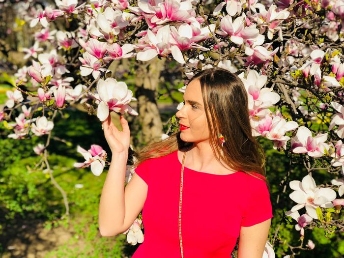 Woman Touching Flowers Blooming In Tree