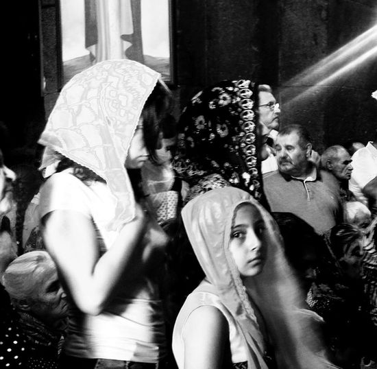 Women With Headdress Ex Soviet Countries Indoors  Into The Church Lifestyles Light And Shadow Mass Real People
