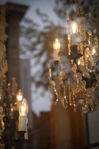 Close-up of crystal chandeliers