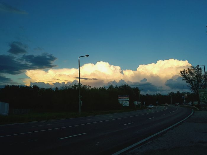 Sky Cloud - Sky Sunset No People Outdoors Tree Day Close-up Road High Angle View Illuminated Blue Sky And City