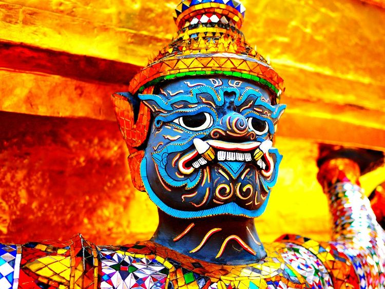 Travel Photography Thailand Blue Face Gold Bangkok Buddhism Temple Colour Of Life Eyeemphoto