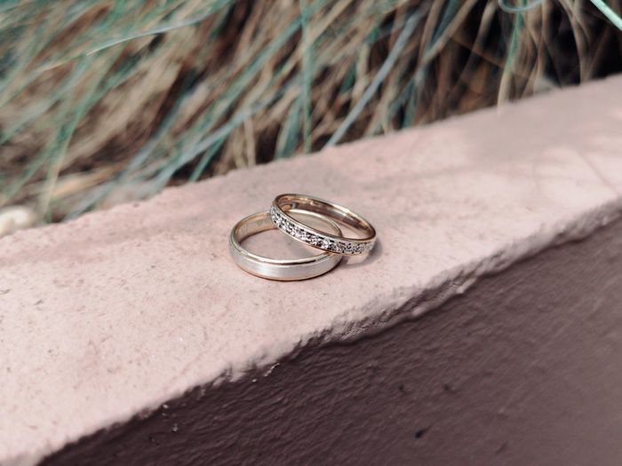 Close-up of rings on retaining wall