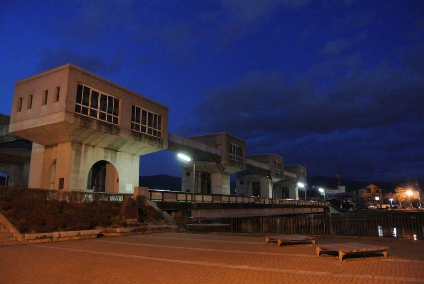 長野県 岡谷市 諏訪湖 釜口水門 水門 Japan Nagano Suwa Lake Suwa Lake Kamaguchi Gate Floodgate Night