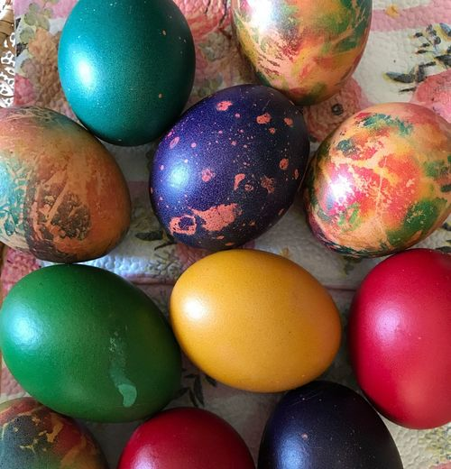 Multi Colored Easter Egg Celebration Egg Easter Food Food And Drink No People High Angle View Holiday Large Group Of Objects Variation Close-up Art And Craft Indoors