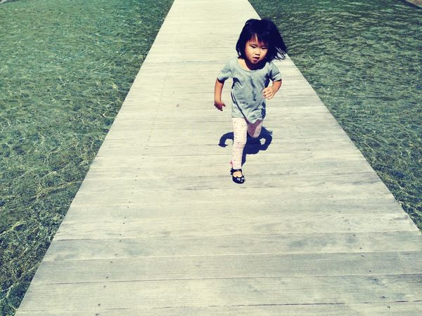 Bridge Running Girl Running Running Girl Blue Blue Water On The Water