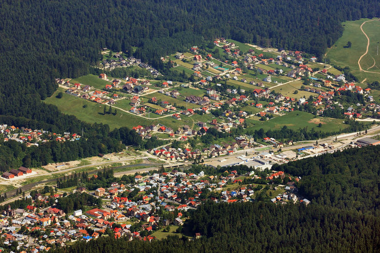 High angle view of houses in village