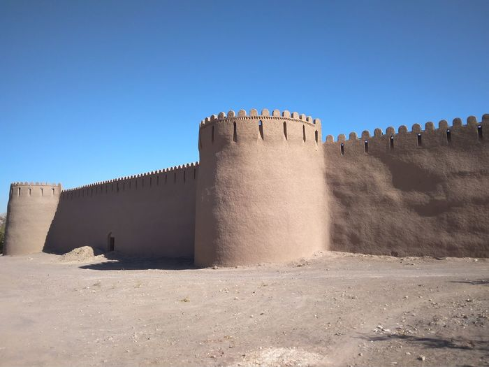 View of fort against clear blue sky