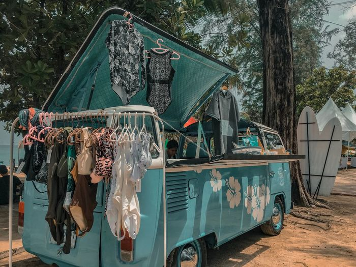 Clothes hanging on clothesline of trees