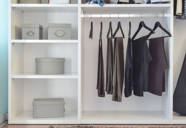 Clothes drying in rack at home