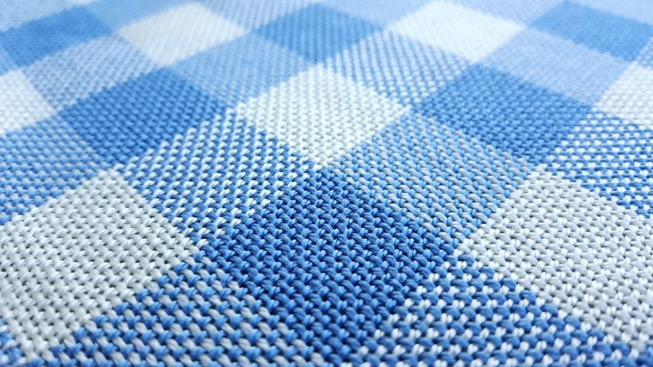 Textile Close-up No People White And Blue Colour Tablecloth Chequered Bayrisch Pattern Day Woven Woven Pattern Bayern Germany