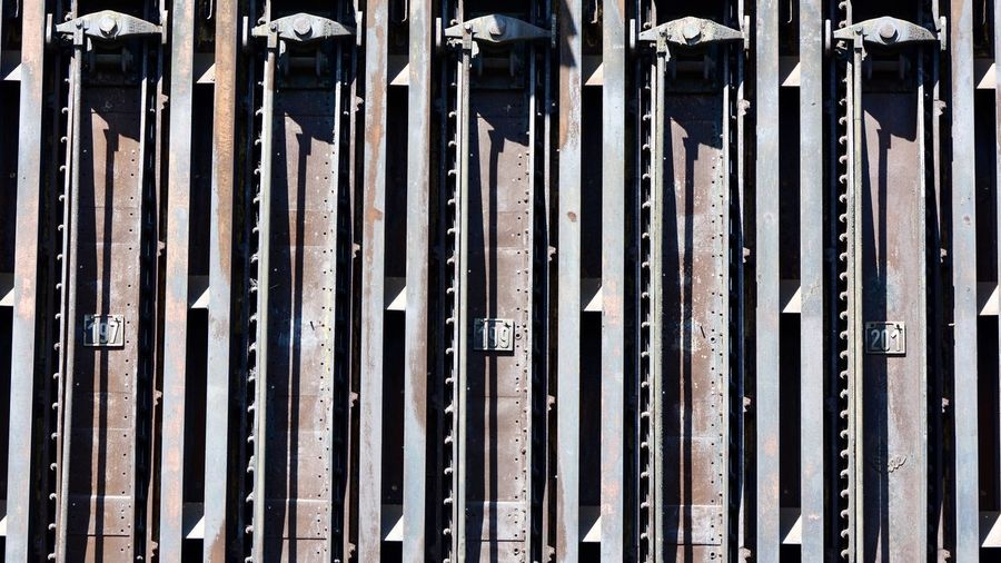 Full frame shot of old built structure at zollverein coal mine industrial complex