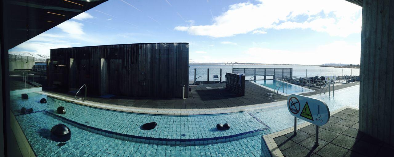 Swimming pool against sky