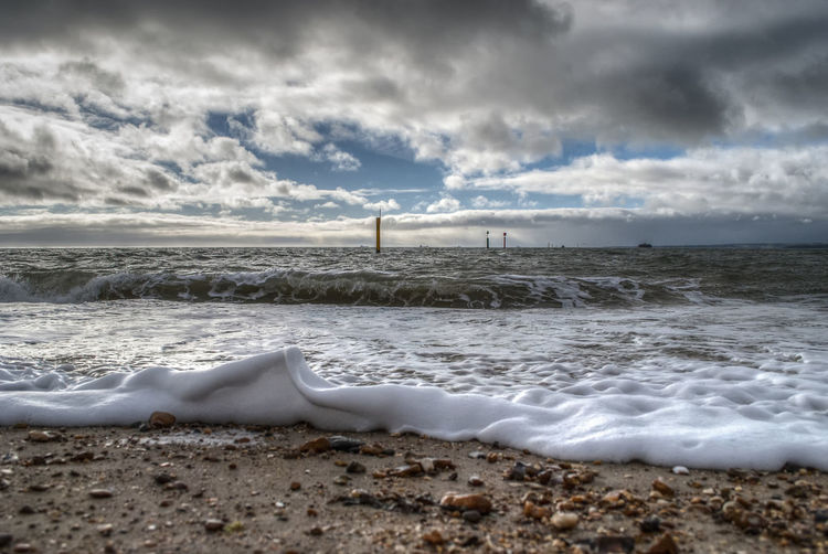 Southsea Beach Sea Cloud - Sky Beach Sky Sand Water Horizon Over Water Beauty In Nature Nature No People Scenics Wave Outdoors Southsea Portsmouth Hampshire  England