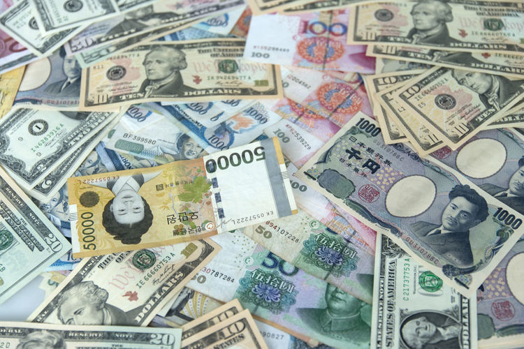 currency Backgrounds Close-up Corporate Business Currency Day Dollar Finance Full Frame Gambling Indoors  Japan Korea Large Group Of Objects No People Paper Currency Savings USA Wealth Won Yen