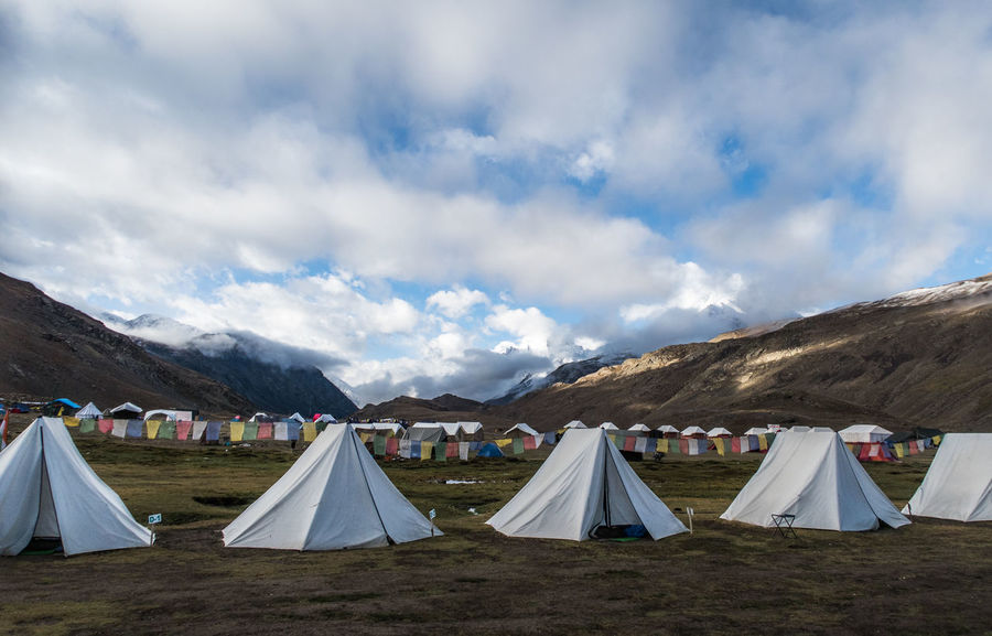 Blue Blue Sky Camping Day Flag Fog Hiking Himalayas Landscape Mountain Mountain Range Nature Outdoors Remote Tent Tents Camp