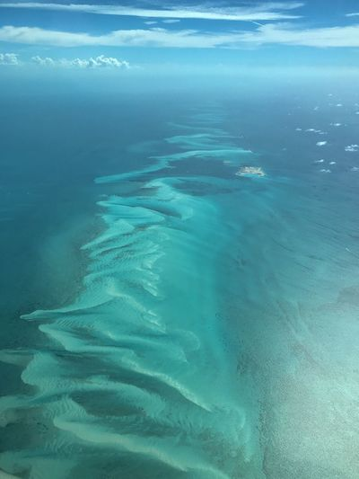 The western edge of the Bahamas Aerial Travel Destinations Aerial Photography Bahamas Water Sea Beauty In Nature Nature Day No People Tranquility Outdoors Scenics - Nature Tranquil Scene Full Frame Blue Aerial View Waterfront Marine Idyllic