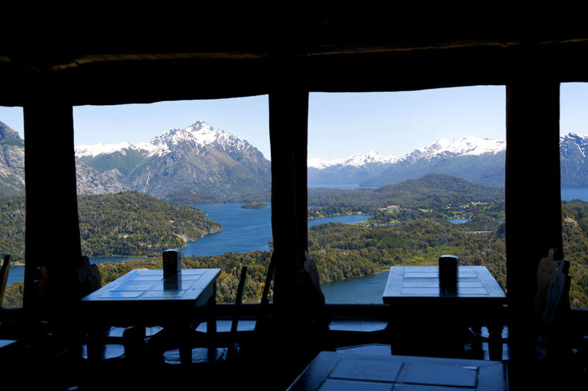 Cerro Campanario Bar. Panoramic view from the bar window. NorthWest View. Los Andes Moreno Lake Nahuel Huapi Nahuel Huapi Lake Panoramic View Argentina Bariloche Beauty In Nature Cerro Campanario Day Empty Lago Moreno Landscape Mountain Mountain Range No People Panoramic Point Patagonia Patagonia Argentina Scenics Sky Table Window