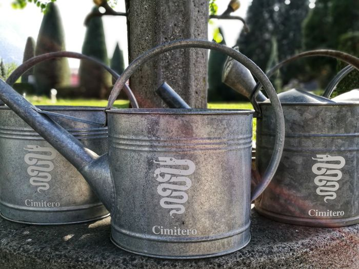 Bellinzona Switzerland Ticino Eye4photography  Sunlight Watering Can Cimetary Text Communication Close-up Gardening Equipment
