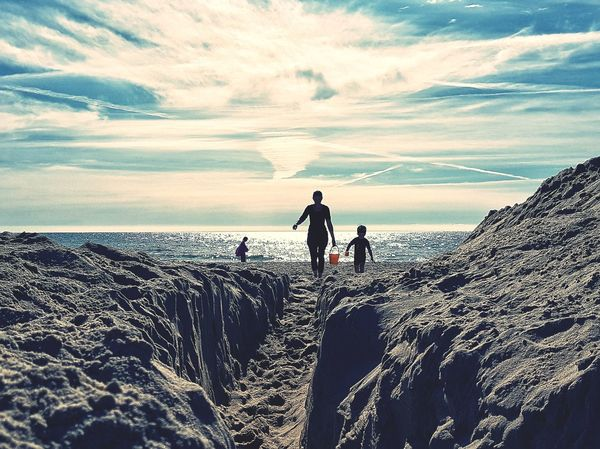Beach Togetherness Sea Sand Sky Outdoors Adult Day People Horizon Over Water Nature Bonding Women Vacations Child Full Length Lost In The Landscape