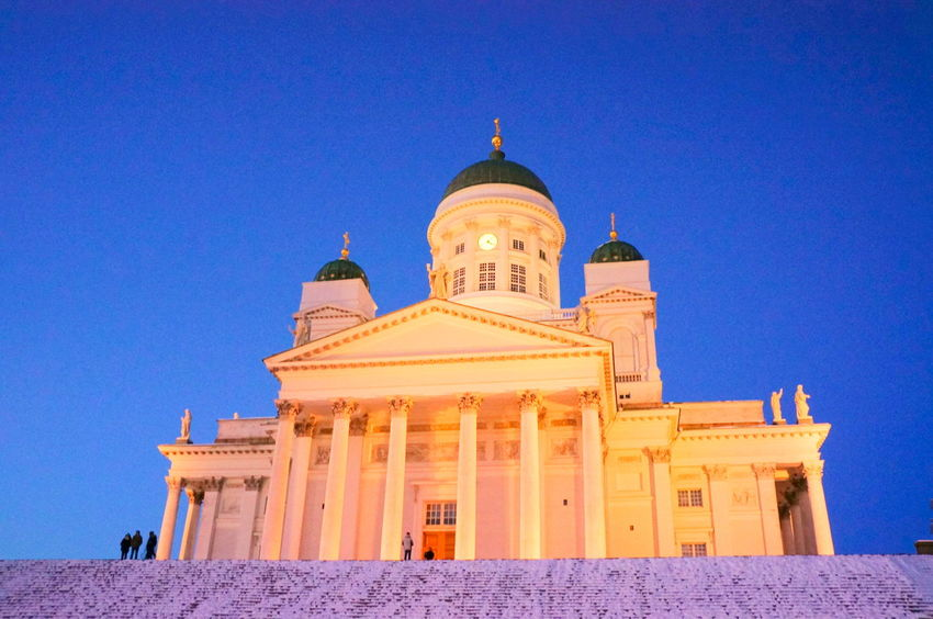 Finland Helsinki Scandinavia Winter Architecture Blue Building Exterior Built Structure Capital Clear Sky Copy Space Day Dome Europe History Low Angle View No People North Europe Outdoors Place Of Worship Religion Sky Snow Spirituality Travel Destinations Urban