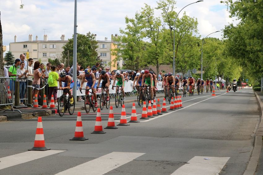Adults Only Bikes Chateauroux City Crowd Cycling Day ETU Sprints Large Group Of People Outdoors People Race Triathletes TRIATHLON