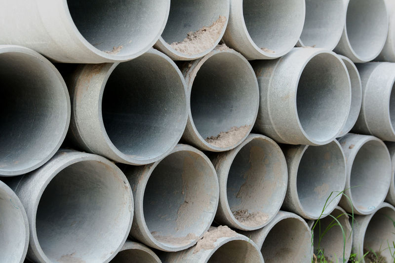 Full frame shot of concrete pipes