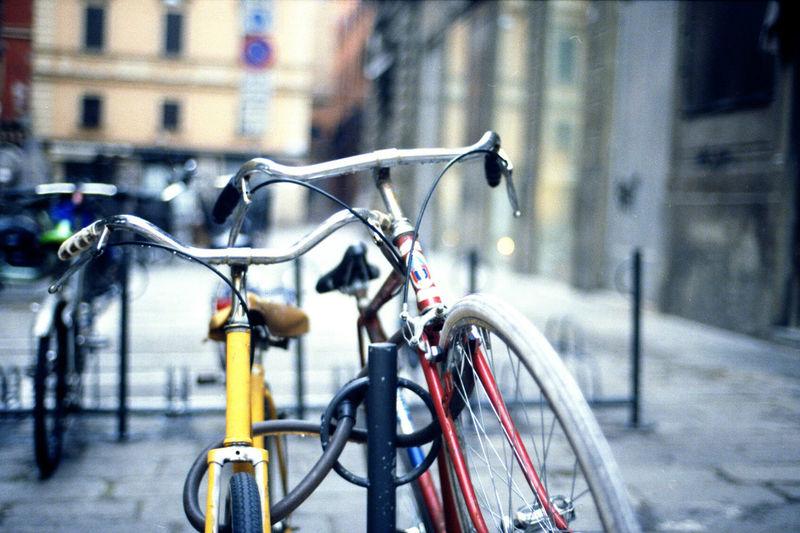 Bike Bycicle City City Bike City Street Day Old Bike Parked Parking Transportation
