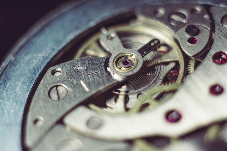 Macro shot of clockwork in pocket watch