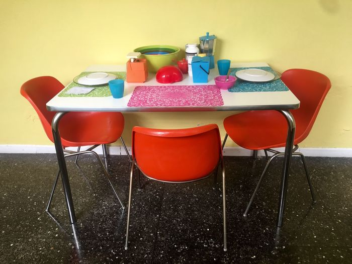 Table Chair Indoors  No People Day Orange Color Retro Retro Style Colors Kitchen