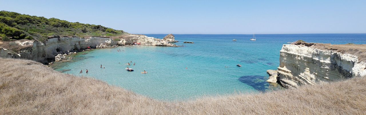 Sea Vacations Horizon Over Water Blue Summer Travel Destinations Clear Sky Beauty In Nature Water Relaxation Puglia Italian Seaside Sant'andrea Rocks And Water