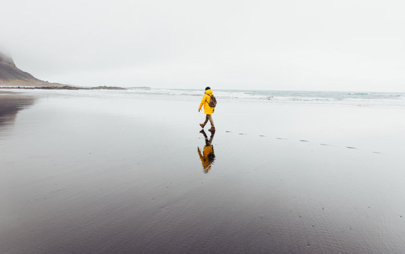 Rear view of man walking on shore at beach