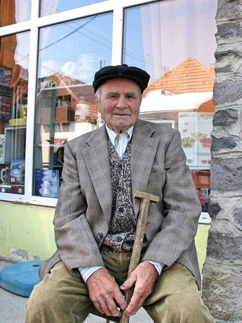 Transylvania Building Exterior Day Front View Looking At Camera One Person One Senior Man Only Portrait Real People Senior Adult Senior Men Sitting Waist Up