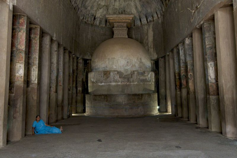 Adult Adults Only Ajanta Caves Ancient Architectural Column Architecture Built Structure Day Elora Full Length History Indoors  One Person People Place Of Worship Travel Travel Destinations Women